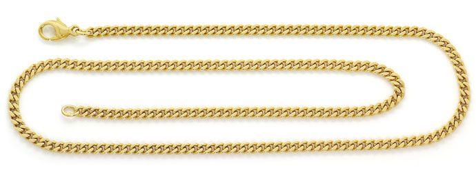 Foto 1, Flachpanzer Goldkette in 51cm Länge massiv Gelbgold 14K, K2662