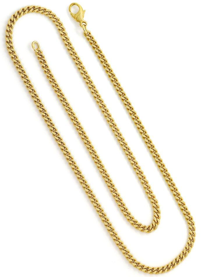 Foto 3, Flachpanzer Goldkette in 51cm Länge massiv Gelbgold 14K, K2662