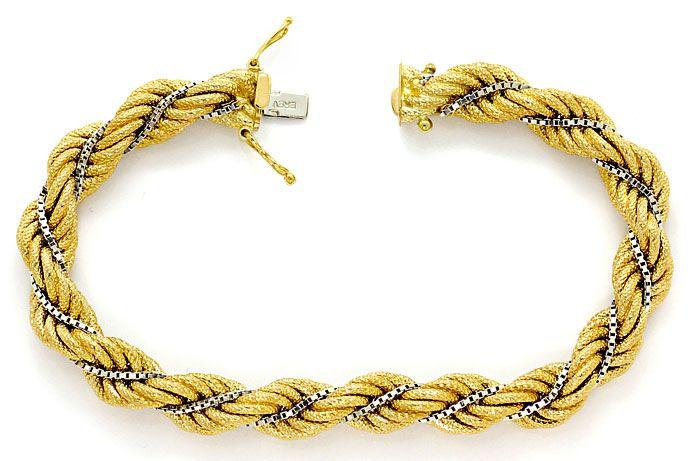 Foto 1, Kordel Goldarmband in Gelbgold mit Weissgold Venezianer, K2663