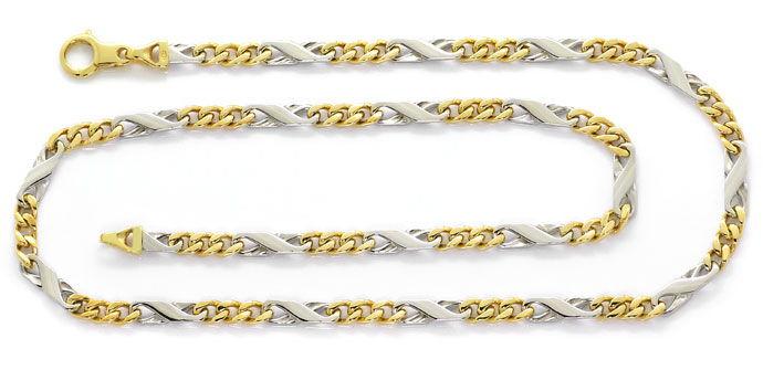 Foto 1, Dollar Figaro Halskette, 51cm in 14K Gelbgold Weissgold, K2667