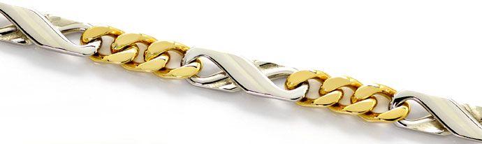 Foto 2, Dollar Figaro Halskette, 51cm in 14K Gelbgold Weissgold, K2667