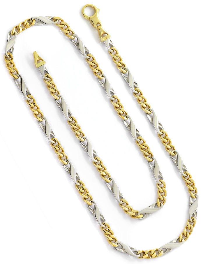 Foto 3, Dollar Figaro Halskette, 51cm in 14K Gelbgold Weissgold, K2667
