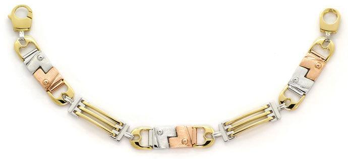 Foto 1, Designer Armband Lang in Dreifarbigem Gold Tricolor 18K, K2674