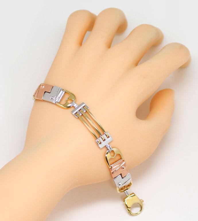 Foto 4, Designer Armband Lang in Dreifarbigem Gold Tricolor 18K, K2674