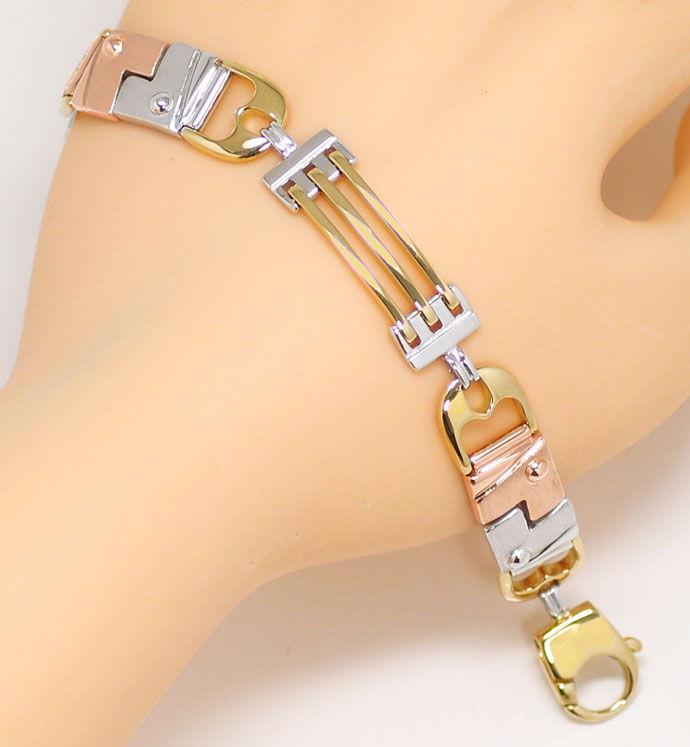 Foto 5, Designer Armband Lang in Dreifarbigem Gold Tricolor 18K, K2674