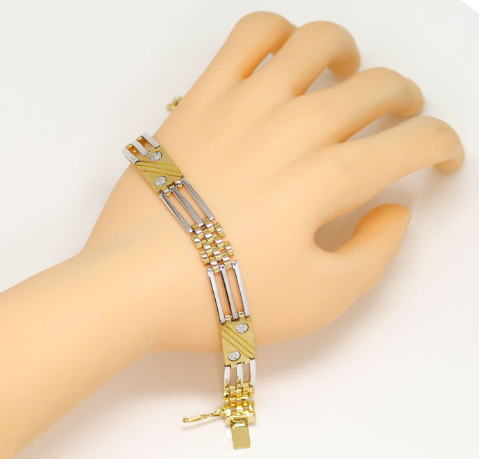 Foto 4, Zweifarbiges Designer Armband in 20cm Länge Bicolor 18K, K2676