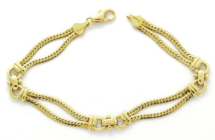 Foto 1, Gelbgold Armband zweireihig, massiv in Gelbgold 14K/585, K2677