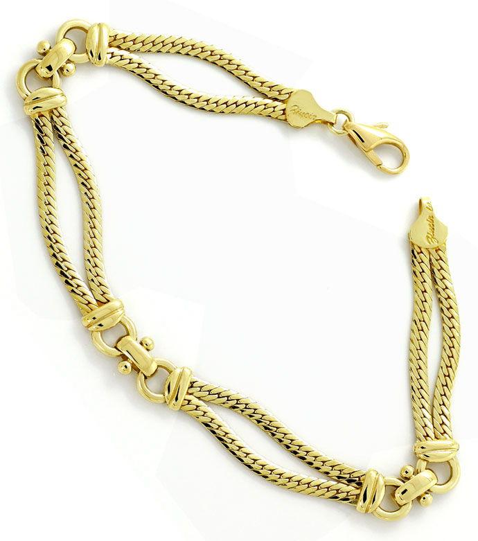 Foto 3, Gelbgold Armband zweireihig, massiv in Gelbgold 14K/585, K2677