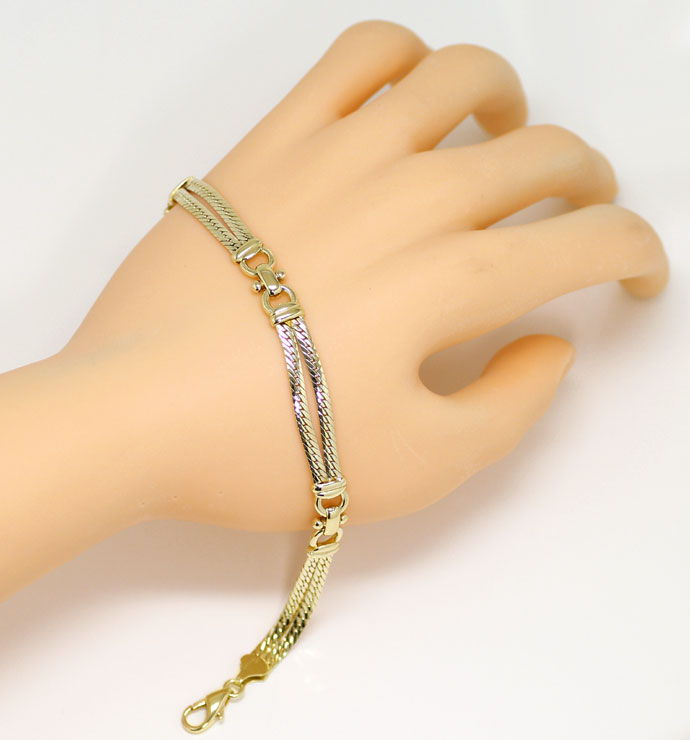 Foto 4, Gelbgold Armband zweireihig, massiv in Gelbgold 14K/585, K2677
