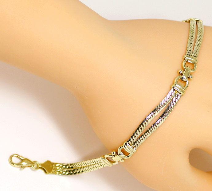 Foto 5, Gelbgold Armband zweireihig, massiv in Gelbgold 14K/585, K2677