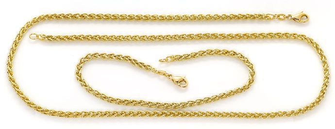 Foto 1, Gelbgold Kette 50cm mit Armband 21cm im Zopf Muster 14K, K2681