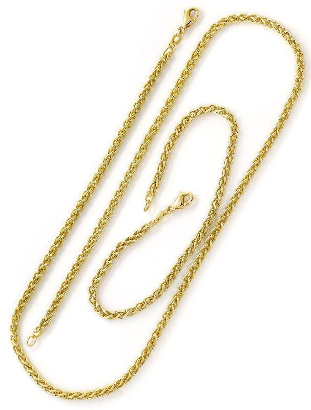 Foto 3, Gelbgold Kette 50cm mit Armband 21cm im Zopf Muster 14K, K2681