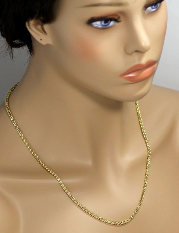 Foto 4, Gelbgold Kette 50cm mit Armband 21cm im Zopf Muster 14K, K2681