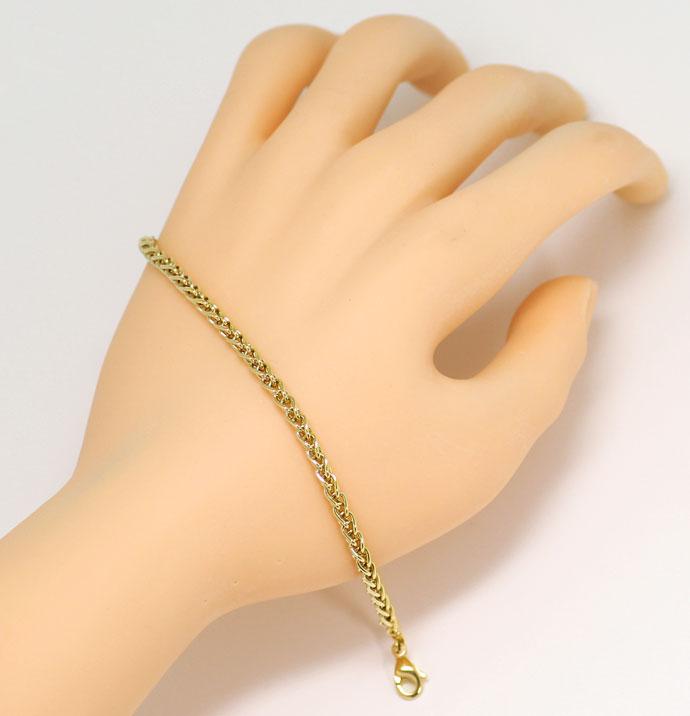 Foto 5, Gelbgold Kette 50cm mit Armband 21cm im Zopf Muster 14K, K2681