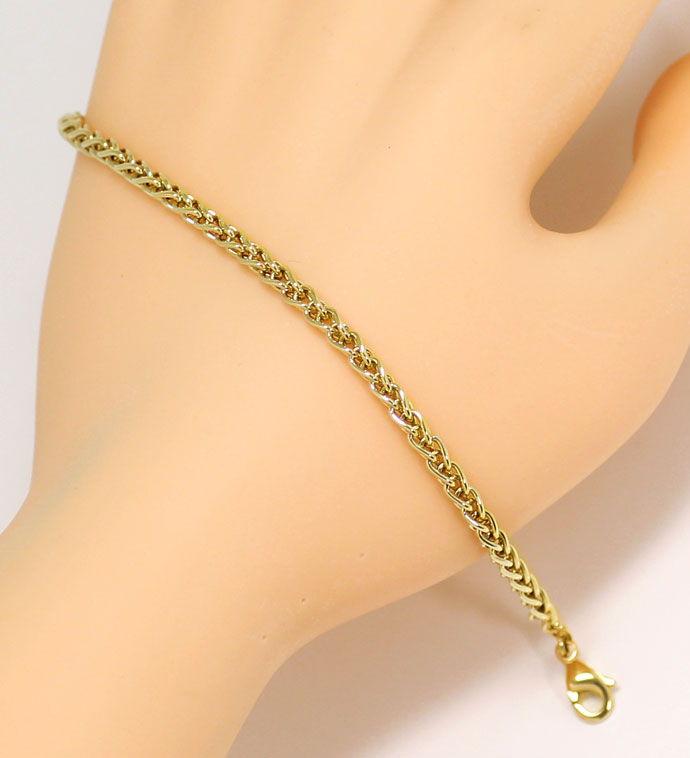 Foto 6, Gelbgold Kette 50cm mit Armband 21cm im Zopf Muster 14K, K2681