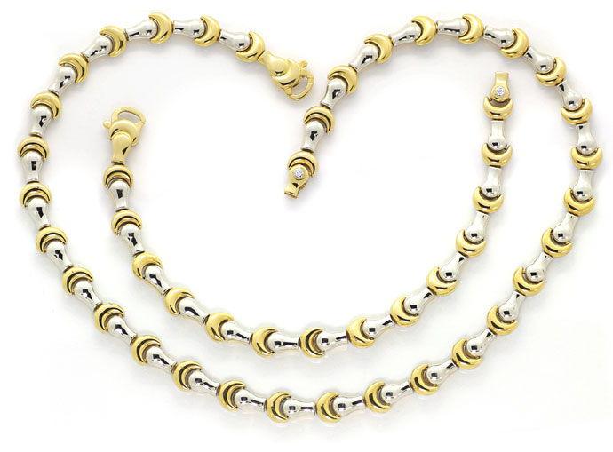 Foto 1, Designer Goldkette mit Armband Fantasie Mond Muster 18K, K2683