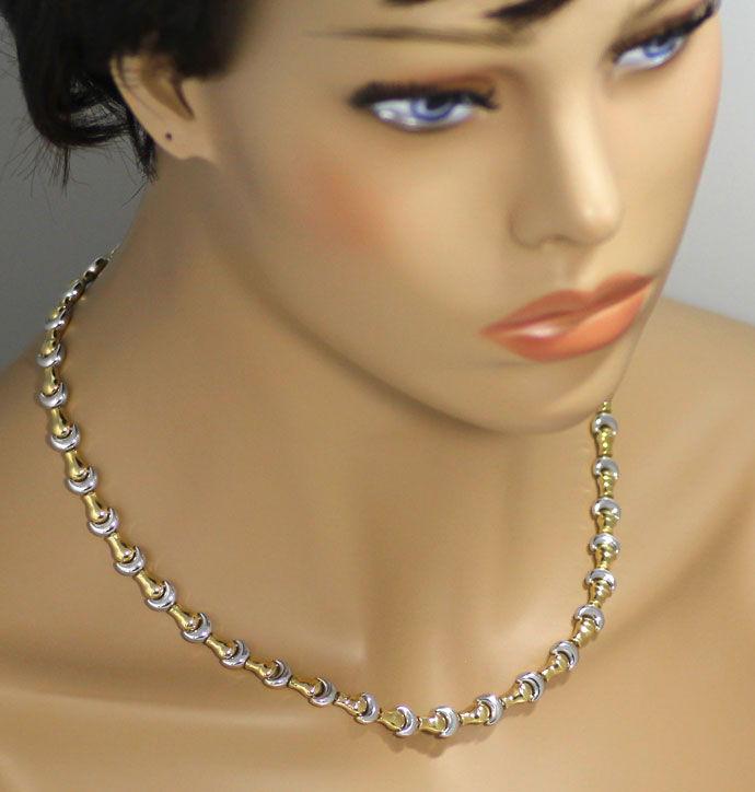 Foto 5, Designer Goldkette mit Armband Fantasie Mond Muster 18K, K2683