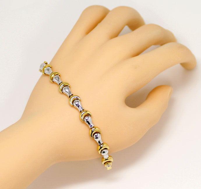 Foto 6, Designer Goldkette mit Armband Fantasie Mond Muster 18K, K2683