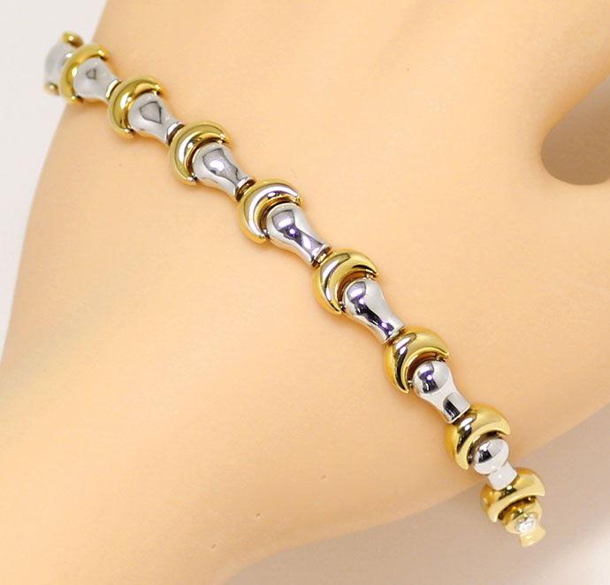 Foto 8, Designer Goldkette mit Armband Fantasie Mond Muster 18K, K2683
