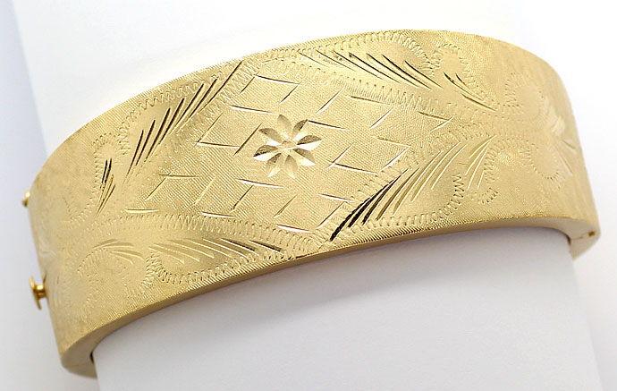 Foto 1, Gelbgold Armreif Handarbeit mit tollem Gravurmuster 14K, K2684
