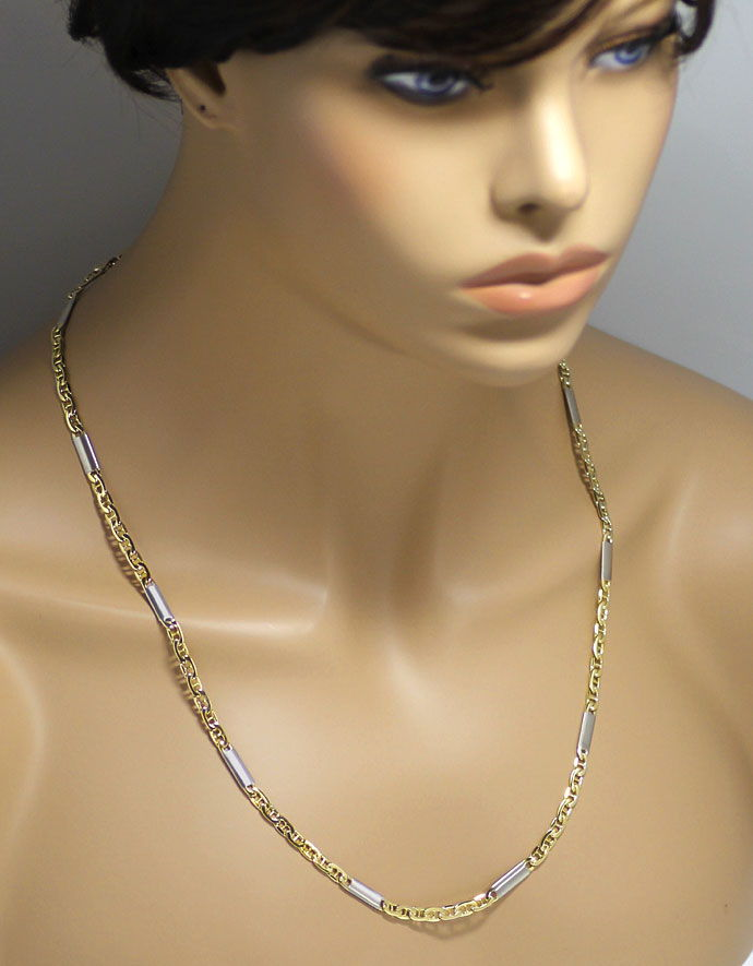 Foto 4, Steganker Goldkette mit Plättchen in Gelbgold Weissgold, K2686