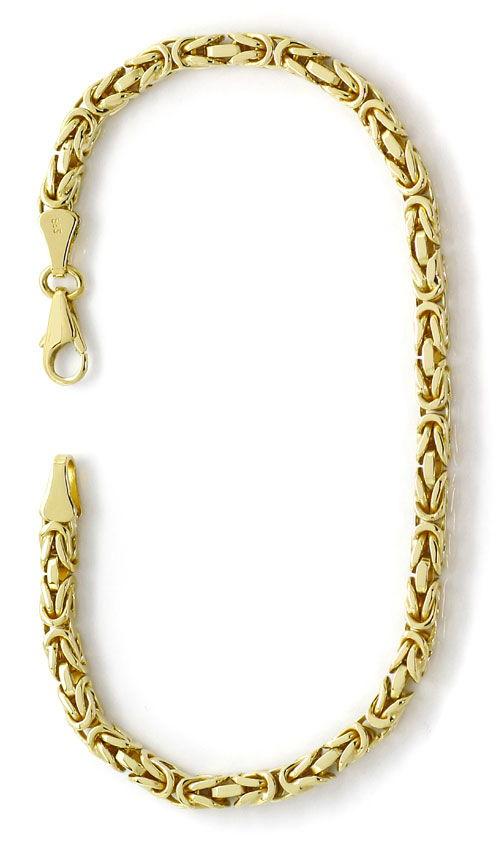 Foto 3, Massives Armband im Königsketten Muster in Gelbgold 14K, K2688