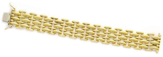 Foto 1, Gold Armband, Polierte Stäbchen und Matte Linsen in 14K, K2689