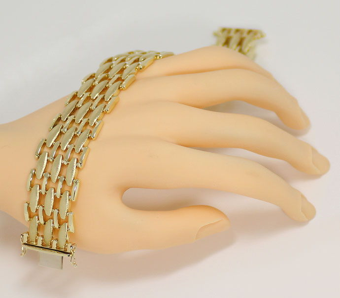 Foto 4, Gold Armband, Polierte Stäbchen und Matte Linsen in 14K, K2689