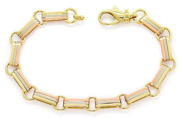 Foto 1, Exklusives Goldarmband 18K Gelb Weiss Rot Gold Tricolor, K2693