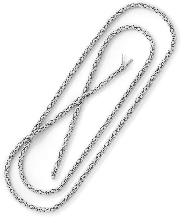 Foto 3, Hochwertige massive Königskette 14K Weissgold 91cm Lang, K2694