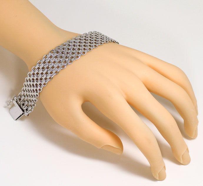 Foto 5, Dekoratives breites Mehrreihiges Weissgold Armband, 14K, K2696