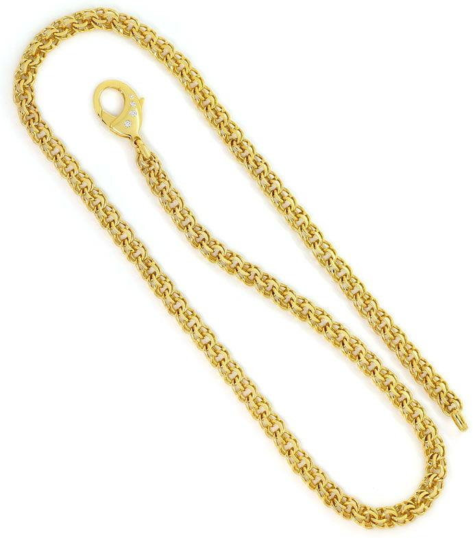 Foto 3, Garibaldi Gelbgoldkette mit Brillant Karabiner 59cm 14K, K2699