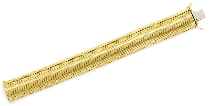Foto 1, Gelbgold Armband Gewelltes Schuppen Muster 20,6mm Breit, K2704