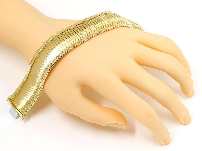 Foto 5, Gelbgold Armband Gewelltes Schuppen Muster 20,6mm Breit, K2704