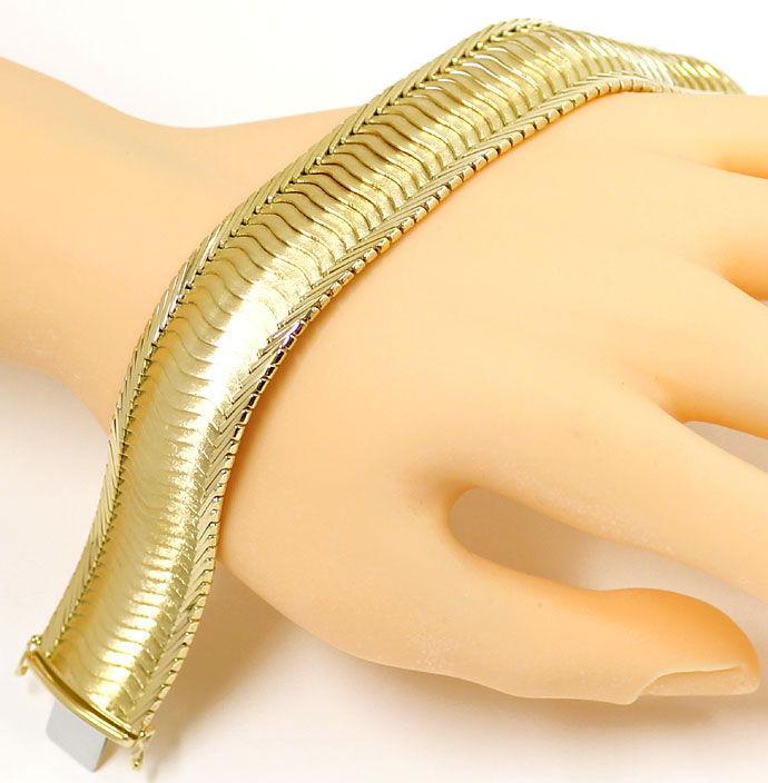 Foto 6, Gelbgold Armband Gewelltes Schuppen Muster 20,6mm Breit, K2704