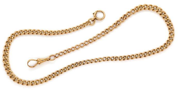 Foto 1, Rotgold Taschenuhrkette oder Halskette antik im Verlauf, K2710