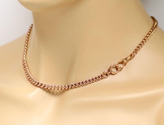 Foto 4, Rotgold Taschenuhrkette oder Halskette antik im Verlauf, K2710