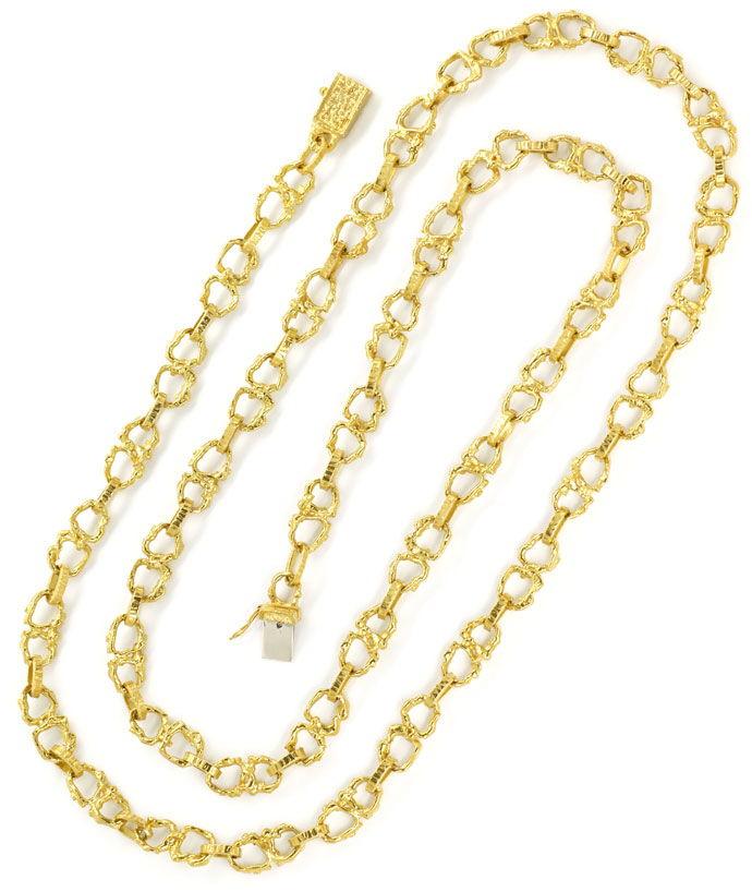 Foto 3, Brezel Goldkette 92cm lang in massivem Gelbgold 18K/750, K2713