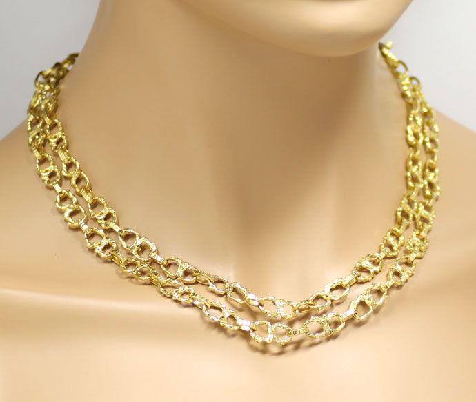 Foto 4, Brezel Goldkette 92cm lang in massivem Gelbgold 18K/750, K2713