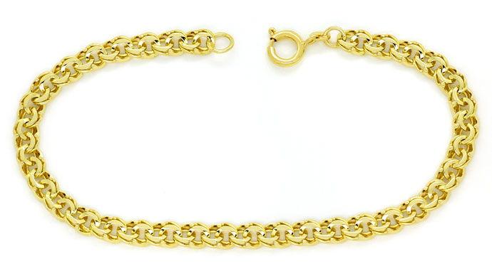 Foto 1, Gold Armband im Garibaldi Muster in 14K massiv Gelbgold, K2715