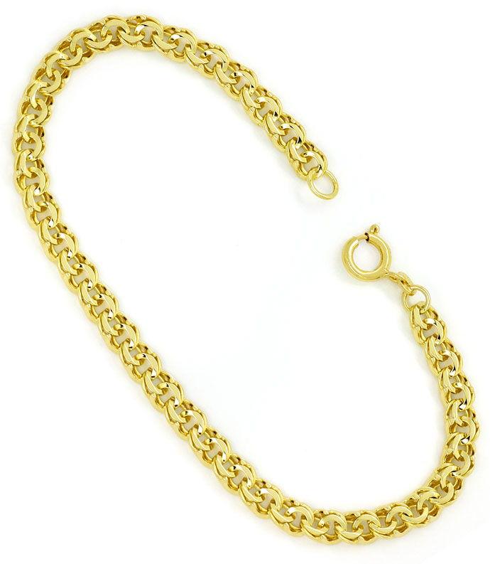 Foto 3, Gold Armband im Garibaldi Muster in 14K massiv Gelbgold, K2715