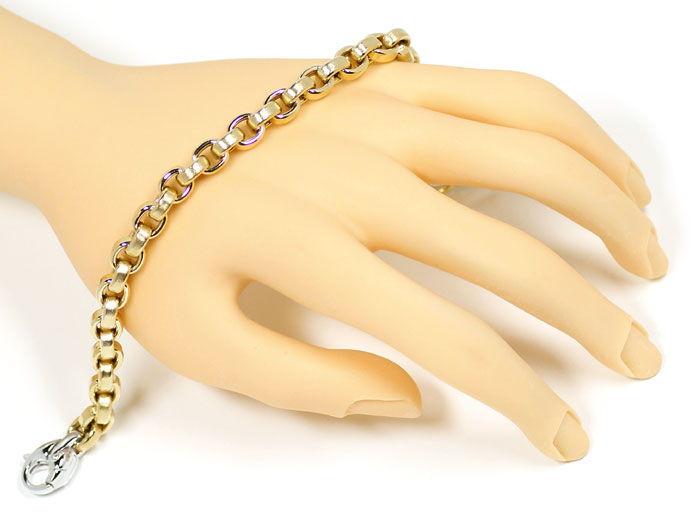 Foto 4, Gelbgold Anker Armband Weissgold Designer Karabiner 14K, K2723