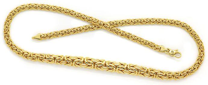 Foto 1, Flache Königskette im Verlauf 45cm in 14 Karat Gelbgold, K2726