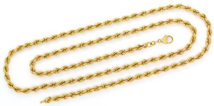 Foto 1, Lange Gelbgoldkette im Kordel Muster in 80cm Länge, 14K, K2729