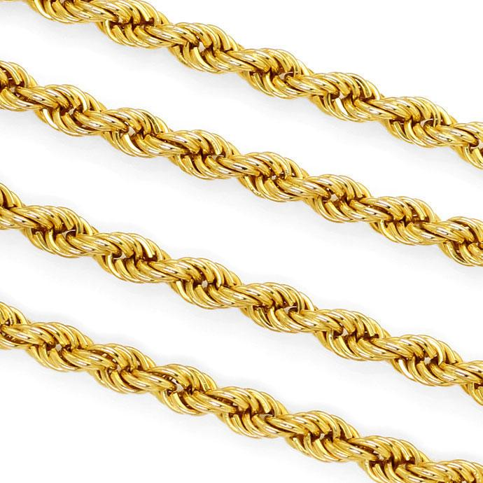 Foto 2, Lange Gelbgoldkette im Kordel Muster in 80cm Länge, 14K, K2729