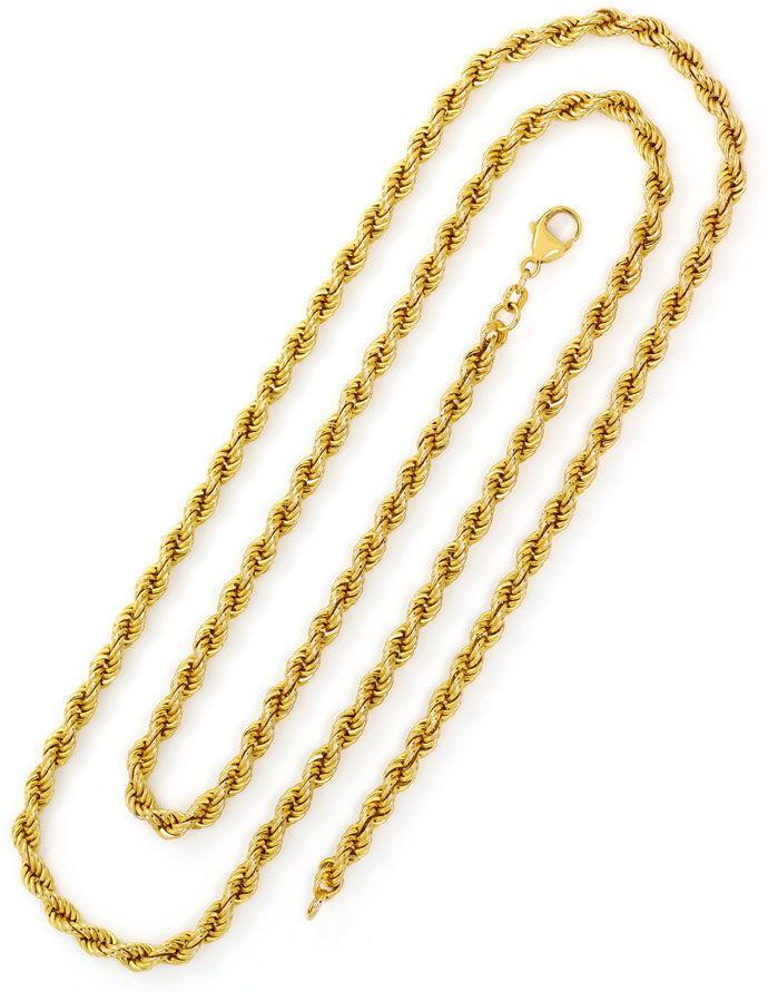 Foto 3, Lange Gelbgoldkette im Kordel Muster in 80cm Länge, 14K, K2729