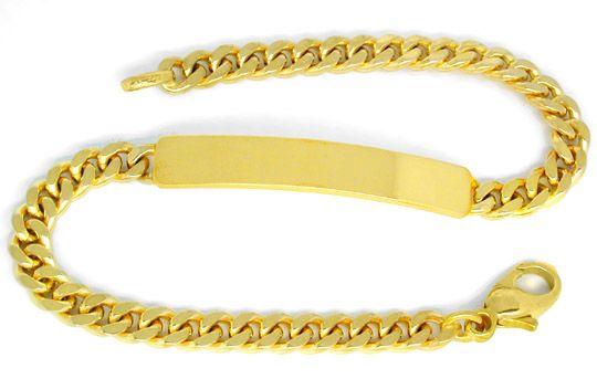 Foto 1, Identitäts Gold Armband massiv 14K Flachpanzer Gelbgold, K2816