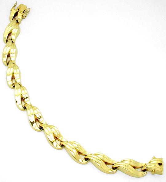 Foto 2, Neu! Wunderschönes Designer Armband Gelbgold 14K Luxus!, K2835
