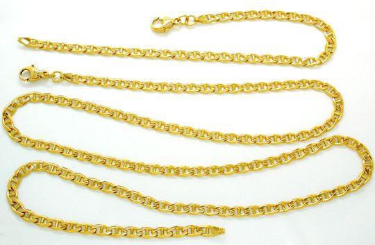 Foto 1, Neu! Kette und Armband, Gelbgold 14K/585, massiv!! Shop, K2839