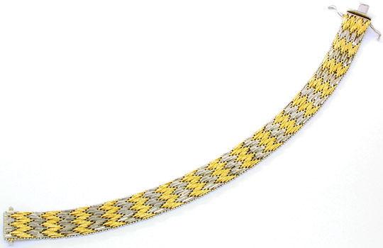 Foto 1, Traumarbeit Bicolor-Armband massiv 18K/750 Luxus! Neuw., K2842